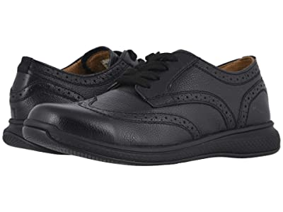 Florsheim Kids Great Lakes Wing Tip Ox Jr. (Toddler/Little Kid/Big Kid) (Black Milled Leather/Black Sole) Boy