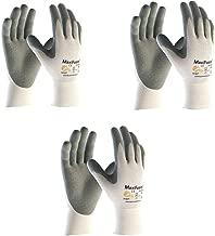 G-TEK 34-800 MaxiFoam Premium Foam Nitrile Coated Glove With Coated Palm & Fingers. Grey/White (3 Pair Pack) (Medium)