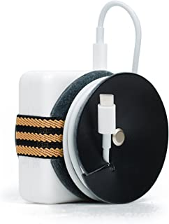 PowerPlay Leather Cable Organizer for MacBook Pro Power Adapter (Black/Stripes)