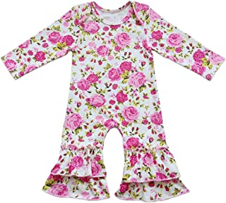 Baby Little Girl Icing Ruffle Jumpsuit Pants Long Sleeve Christmas Floral Romper for Kids Pajamas Birthday Outfit