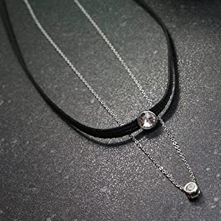 Black Ribbon Choker Necklace with Sterling Silver Chain & Halo Beads, White Rhodium Plating