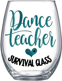 Funny Dance Teacher Gifts Stemless Wine Glass Glitter Design for Her 0065
