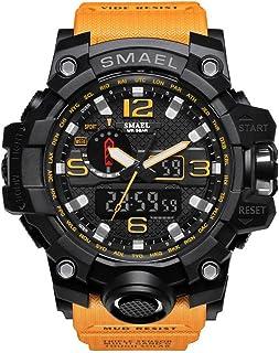 ساعة معصم للرجال SMAEL ساعة رياضية مضادة للماء ساعة انالوج رقمية كوارتز متعددة الوظائف ساعة رياضية رياضية رياضية (برتقالية)