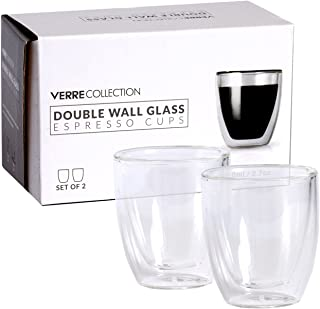 Double Wall Demitasse Espresso Glass Cup, 80mL/2.7 oz, Set of Two | Verre Collection