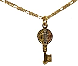 Diamantados de Florida San Benito Mini clave Medalla – San Benito Llave medalla 18 K chapado en oro colgante con cadena de 20 pulgadas