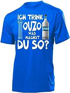 Ich Trink Ouzo was Machst du so 4923 Saufen Party Bier Herren Männer Fun Shirt Aufdruck Lustig Spruch Tshirt Geburtstag Geschenk Blau XL