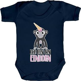 ShirtStreet süße Geschenkidee Unicorn Eis Ice Cream Strampler Bio Baumwoll Baby Body kurzarm Jungen Mädchen Gorilla - Ich bin ein Einhorn