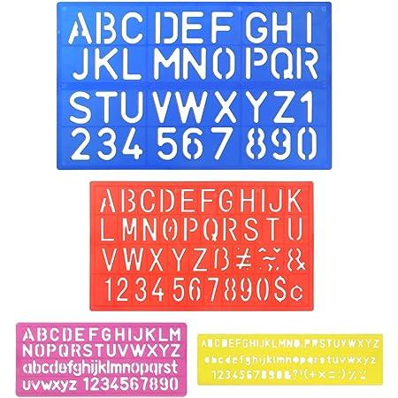 ARTBOX Lot de 4 Chiffres pochoirs Lettres de lalphabet Bricolage