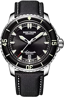 Reef Tiger Super Luminous Dive Watches Mens Nylon Strap Automatic Watches with Date RGA3035