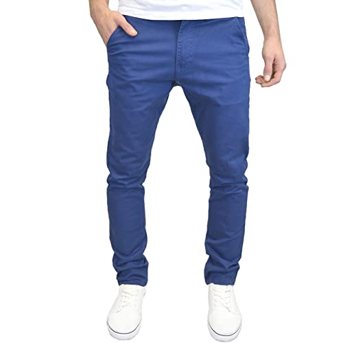 Enzo Mens Stretch Trousers Slim Fit Cotton Belted Chinos Pants Big /& Tall Sizes