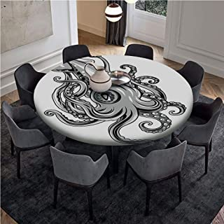 Fitted Table Cloth Round with Pull Rope Edge with Pull Rope - Customized Fits 72 Inch Tables,Kraken Decor,Squid Fish with Fins Sea Spiritual Animal Cuttlefish Underwater Alien Artisan Print,Grey