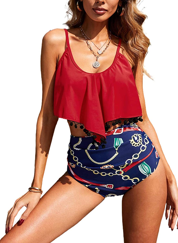 EVALESS Women Two Pieces Straps Ruffle Tankini Sets Print Flounce Swimsuit with High Waist Bikini Bottom