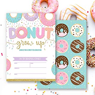 Mocsicka Donut Grow Up Girl's First Birthday Invitations Donut 1st Birthday Party Invite, 20 Fill in Invitations and Envelopes