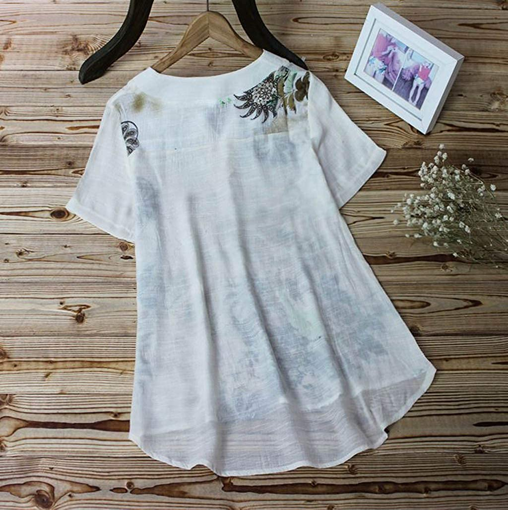 NREALY Blusa Womens Vintage V-Neck Floral Printing Patch Short Sleeves Top T-Shirt Blouse