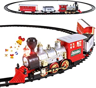 Electric Christmas Train Set for Kids with Headlight, Realistic Sound, Battery-Operated Classic Toy Train with 1 Locomotiv...