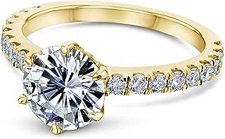 6-Prong 1.9ct Moissanite (HI/VS) Ring (Multiple Gold Options)