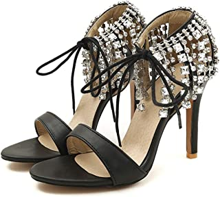 Collocation-Online Women pu Super high Thin Heel Cross-Strap Lace-up Three Colors Crystal Fringe Sexy Sandals