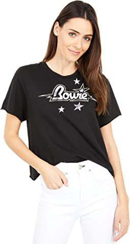 Slightly Cropped Bowie Star Print Front/Back Short Sleeve Tee