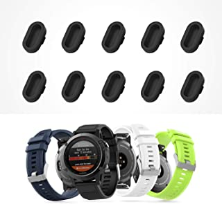 Dadanism Dust Plug Fit Garmin Fenix 5 / 5S / 5X / Plus/Forerunner 935 Watch, [10pack] Protective Cover Cap for Watch Charger Port, Soft Silicone Anti-dust Plugs - Black