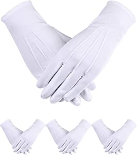 4 Pairs Uniform Gloves Spandex Gloves Dress Glove for Man Police Formal Tuxedo Guard Parade Costume