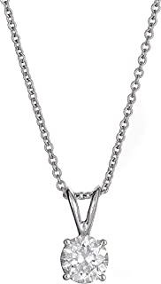 AGS Certified Brilliant-Cut Diamond Classic 4-Prong Pendant Necklace in 14k White or Yellow Gold (I1-I2 Clarity), 16