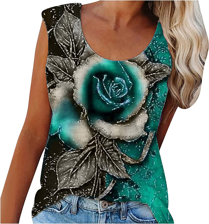 TARIENDY Women Sleeveless Shirt Rose Graphic Tank Top Fashion Summer Pullover Crew Neck Tunic
