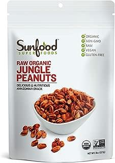 Sunfood Superfoods - Jungle Peanuts Raw Organic - Unique Heirloom Variety- True, Original Rare Form of the Peanut. Non-Hybridized, Unlike Common Peanuts. Non-Gmo, No Additives. Healthy Snack 8 oz Bag