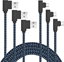 AOKER USB Type C Cable, 3Pack 3ft Right Angle 90 Degree Nylon Braided USB Type A to C Charger for Galaxy S8, S8 Plus, ZTE Zmax Pro Z981, Google Pixel/Pixel XL, LG G6 (3X3ft Black Blue)