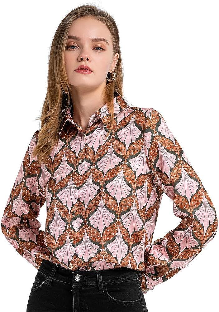 Momo Jimmy Women's Floral Print Blouse Button Down Long Sleeve Shirt Casual Lapel Collar Tunic Top