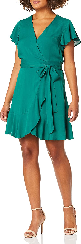 BCBGeneration Women's Flutter Sleeve Surplice Dress