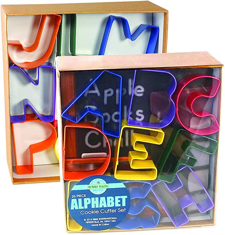 R M International 1800 Alphabet 3 Cookie Cutters Assorted Colors 26 Piece Set