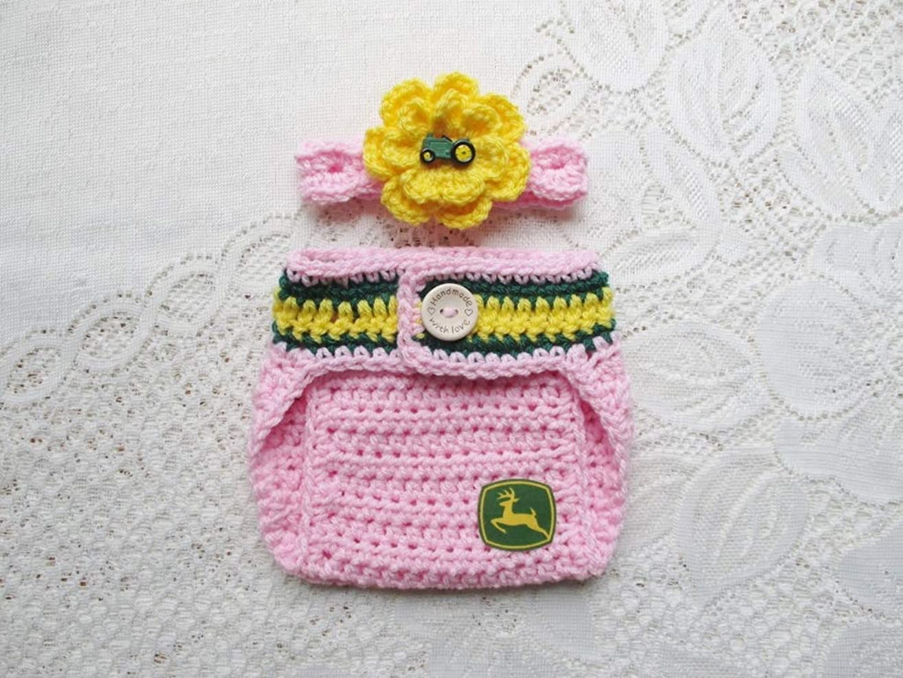 Crochet Baby John Deere Headband and Diaper Cover Set - Baby Photo Prop - Baby Shower Gift - Available in 0 to 6 Months