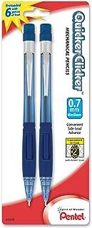 Pentel Quicker Clicker Automatic Pencil, 0.7mm, Transparent Blue Barrel, 2 Pack (PD347BP2-K6)