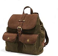 DRAKENSBERG Damen-Rucksack für jeden Tag, als Handtaschen-Ersatz, klein und robust, Kimberley-Debonair-Backpack, 12 L, Canvas und Echt-Büffel-Leder, Oliv-grün, braun, DR00133