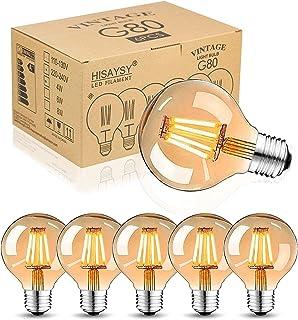 Bombilla Edison E27 LED, vintage, 4W, blanco cálido, antigua, ideal para iluminación nostálgica y retro, 6 unidades