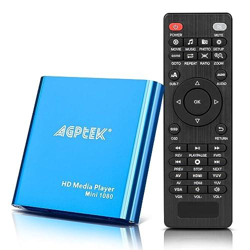 AGPTEK Lecteur Multimédia Boîtier Media Player hdmi Mini HD TV USB 1080P HDMI AV - MKV/RM-SD/USB HDD-HDMI, Soutien HDMI CVBS et YPbPr Sortie Vidéo avec Télécommande et Adaptateur 5V 2A (Bleu)
