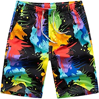 MogogoMen Half Pants Fast Dry Pocket Hawaii Summer Print Beach Board Shorts