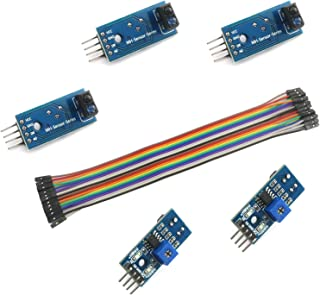 DZS Elec 5PCS TCRT5000 Infrared Reflective Switch IR Barrier Line Track Sensor Module and 20Pin 20cm Cables Line Jumper Female to Female Kit for Arduino Raspberry Pi Smart Car Robot