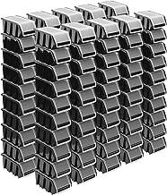 Stapelboxenset - 100 x stapelbox met deksel 155 x 100 x 70 mm - kijkbox stapelbox opslagbox, zwart