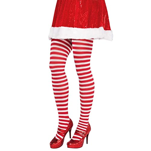 6fdddce103f28 Christmas Candy Cane Tights Adults Pantyhose Xmas Elf Santa Fancy Dress  Stripe Red White Sweet Holiday
