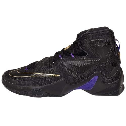 58fa2d9e410 Nike Men s Lebron XIII Black Black Metallic Gold Hyper Grape Basketball  Shoe - 12 D(