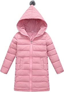 Girls Down Jacket Winter Hooded Padding Coat with Zipper Windproof Outwear 3T-12Y …