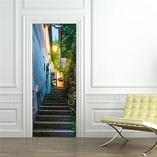 Fymural 3D Door Wall Mural Wallpaper Stickers-San Marino Street Self-Adhesive Vinyl Removable Art Door Decals 30.3x78.7