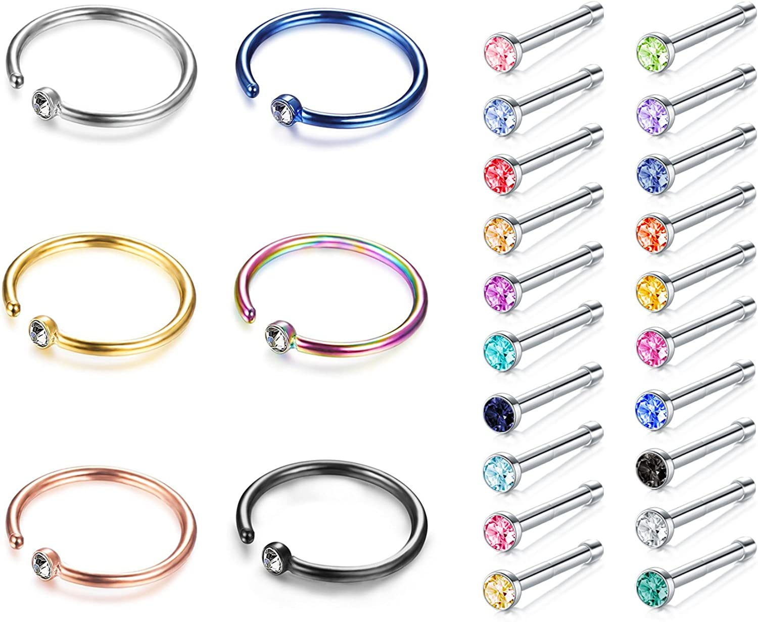 JFORYOU Nose Rings Studs Screw 316L Steel 22G Surgical Free shipping / New 2021