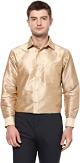 Khoday Williams Men Poly Silk Plain Solid long sleeve Regular Fit Casual Formal Shirt Gold L