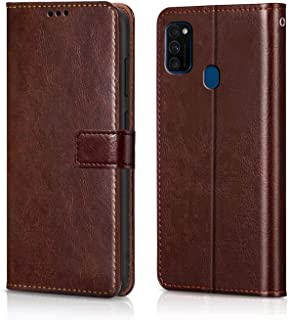 WOW Imagine Galaxy M21 / M30s Flip Case   Leather Finish   Inside TPU with Card Pockets & Stand   Magnetic Closure   Shock Proof Wallet Flip Cover for Samsung Galaxy M30s / M21 - Chesnut Brown
