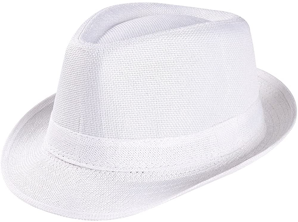 Burband Unisex Men/Women Summer Classic Beach Sun Hat Sun Protection Wide Brim Straw Fedora Hat