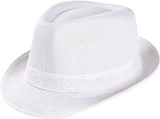 Unisex Classic Panama Floppy Fedora Sun Hat UPF 50+ Bucket Hat Light Weight Straw Hat Beach Cap Cuban Trilby