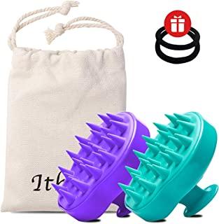 Ithyes Shampoo Brush Silicon Scalp Massager Hair Brush Wet Dry Comb Head Rubber Care Improve Blood Circulation for Men,Women Pets, Pack 2 Purple and Green
