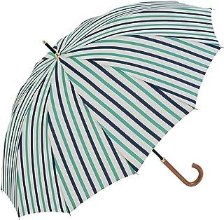 Nifty Colors(ニフティカラーズ) 長傘 12本骨ストライプ エメラルドグリーン
